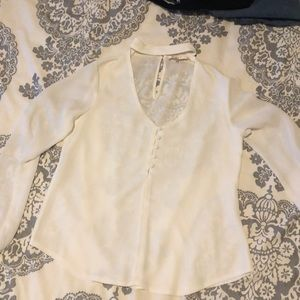 WAYF long sleeve White Blouse with button front